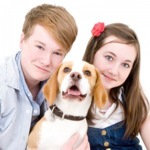 Lucy with her brother Alexander and Benji