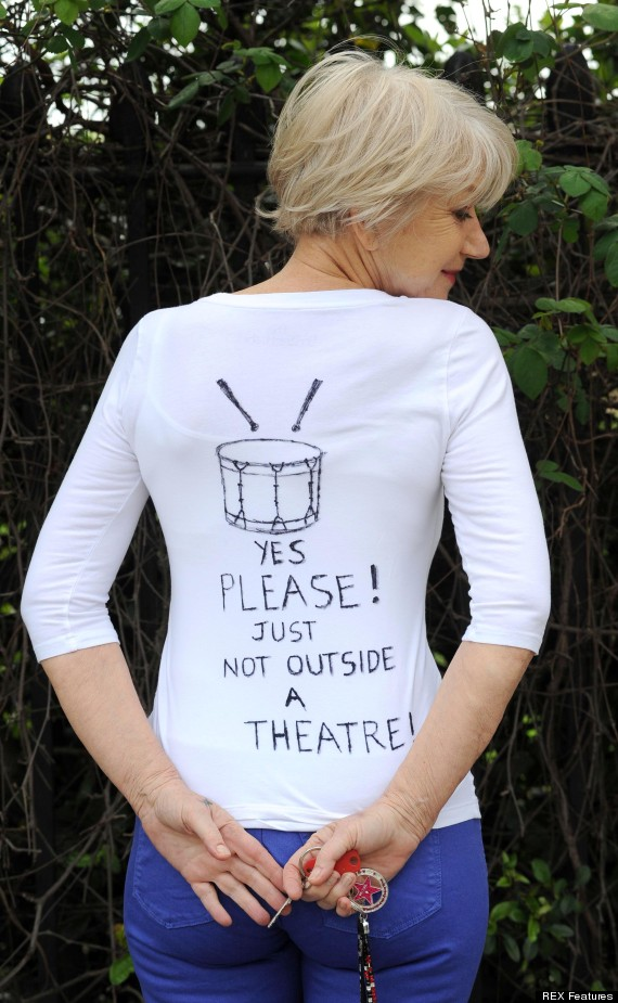 Helen Mirren steps out in a t-shirt to promote LGBT festival following her outburst at street drummers during Saturday's performance of The Audience at the Gielgud Theatre
