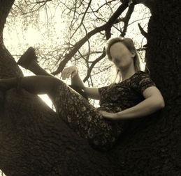 An Evening Girl in Tree