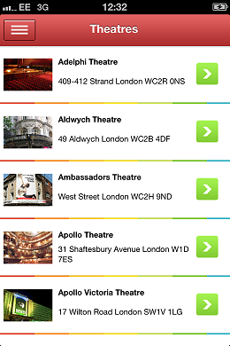 London Theatre App Theatres