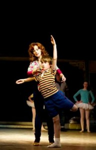 Mrs Wilkinson (Ruthie Henshall) and Billy Elliot (Matteo Zecca) in Billy Elliot the Musical. Photo credit Alastair Muir