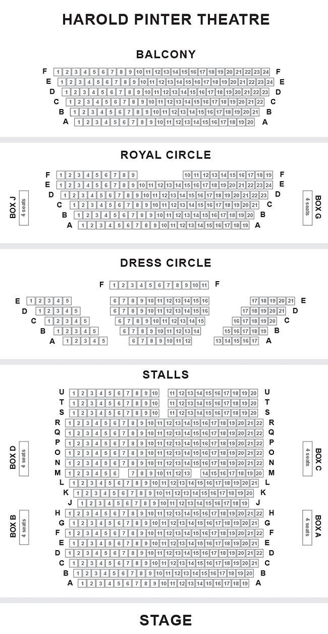 Harold Pinter Theatre Seating Plan