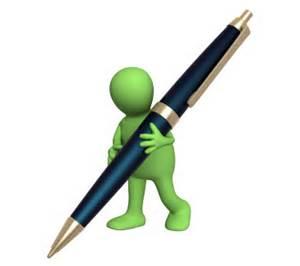 Green cartoon man carrying pen