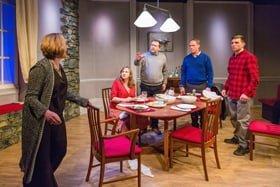L-R Lucy Robinson (Debora), Lisa Stevenson (Tamara), Alex Lowe (Bill), Todd Boyce (Michael) & David Leopold (Curtis) – Late Company – Finborough Theatre