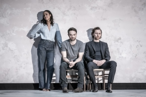 Zawe Ashton (Emma), Charlie Cox (Jerry) and Tom Hiddleston (Robert) in 'Betrayal' directed by Jamie Lloyd. Photo credit Marc Brenner.