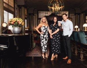 Helen Woolf (Glinda), Nikki Bentley (Elphaba) and Alistair Brammer (Fiyero) Photo by Darren Bell.