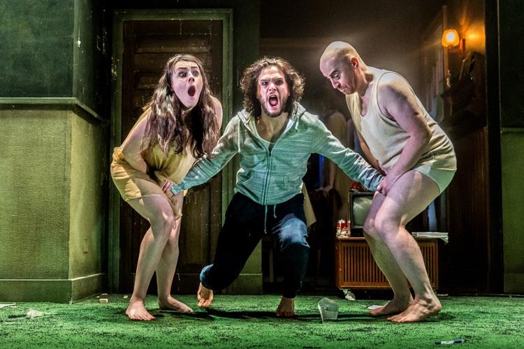 Danielle Flett, Kit Harington and Forbes Masson in Doctor Faustus at the Duke of York's Theatre London. Running until 25 June 2016 CREDIT Marc Brenner
