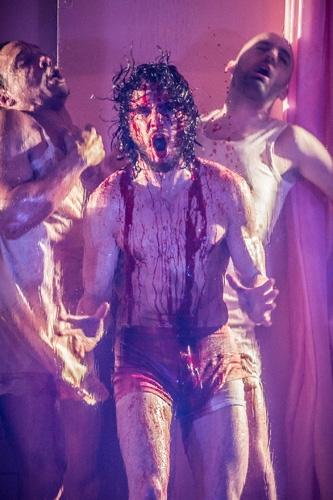 (l-r) Craig Stein Kit Harington Tom Edden in Doctor Faustus at the Duke of York's Theatre London. Running until 25 June 2016 CREDIT Marc Brenner