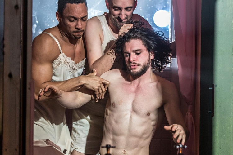 (l-r) Craig Stein Tom Edden Kit Harington in Doctor Faustus at the Duke of York's Theatre London. Running until 25 June 2016 CREDIT Marc Brenner