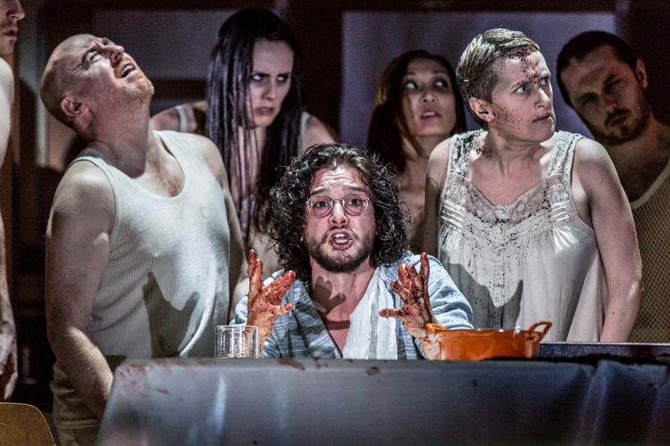 (l - r) Forbes Masson, Kit Harington and Jenna Russell in Doctor Faustus at the Duke of York's Theatre London CREDIT Marc Brenner