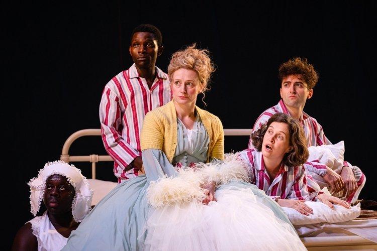Michael (John Pfumojena), Mrs Darling (Anna Francolini), Wendy (Madeleine Worrall) and John (Marc Antolin), PETER PAN (c) Steve Tanner