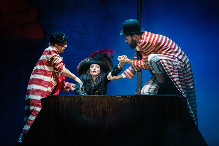 Pirate (Laura Cubitt), Captain Hook (Anna Francolini) and Smee (Felix Hayes), PETER PAN (c) Steve Tanner