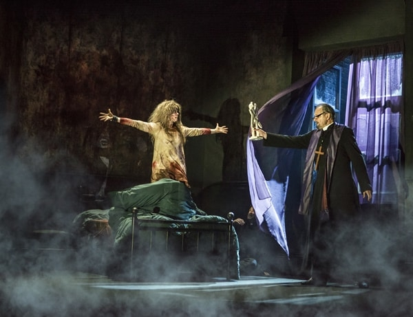 The Exorcist: Clare Louise Connolly as Regan, Peter Bowles as Father Merrin - Pamela Raith Photography