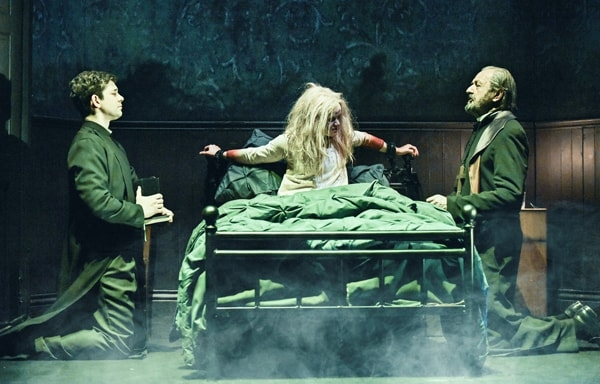 The Exorcist: Adam Garcia as Father Karras, Clare Louise Connolly as Regan and Peter Bowles as Father Merrin. Photographer Robert Day