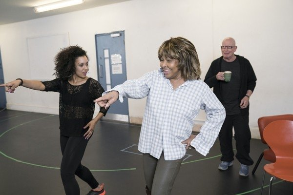 l-r Simone Mistry-Palmer (Associate Choreographer) Tina Turner and Anthony van Laast (Choreographer). Photo by Johan Persson