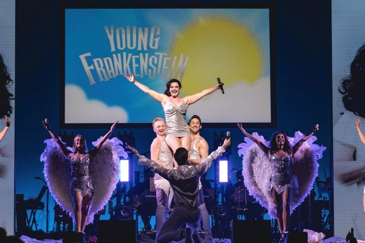 WEST END EUROVISION  Young Frankenstein perform DTaje Me To Your Heaven Photo Darren Bell