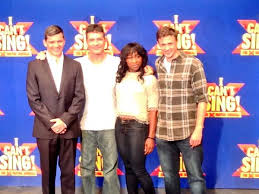 Simon Cowell with stars of upcoming X Factor musical 'I Can't Sing!': Nigel Harman, Cynthia Erivo and Alan Morrisey.