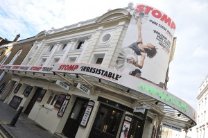 Ambassadors Theatre London West End with Stomp showing.