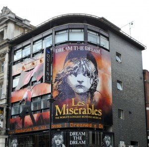 Queen' Theatre London with Les Miserables
