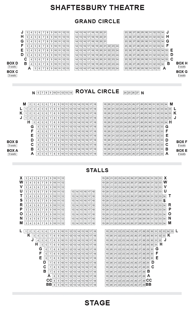 Shaftesbury Theatre Seating Plan