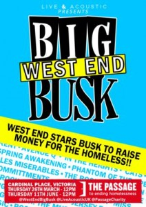 Live and Acoustic presents The West End Big Busk at Cardinal Place, Victoria on 26th March 2015