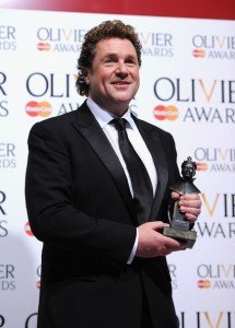 Michael Ball with his 2013 Olivier Award for his performance in Sweeney Todd