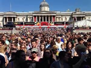 Crowds enjoying West End Live at Trafalgar Square in 2014