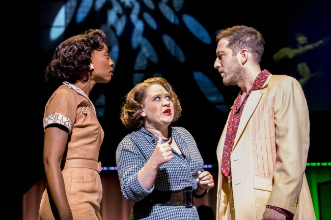 MEMPHIS Beverley Knight (Felicia Farrell), Matt Cardle (Huey Calhoun) and Claire Machin (Gladys). Photo credit Johan Persson