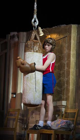 Nat Sweeney (Billy) in Billy Elliot the Musical at the Victoria Palace Theatre. Photo credit Alastair Muir
