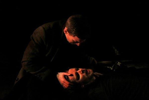 AMLET Feb 2016- (l-r) Luke Jasztal (Horatio), Chris Clynes (Hamlet) at THE ROSE PLAYHOUSE. (Photographer - Jana Andrejeva-Andersone)