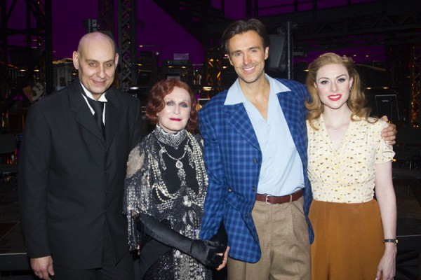 Fred Johanson (Max Von Mayerling), Glenn Close (Norma Desmond), Michael Xavier (Joe Gillis) and Siobhan Dillon (Betty Shaefer) backstage