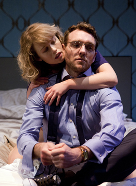 Tom McKay and Rose Reynolds in DRONES, BABY, DRONES at Arcola Theatre. Written by David Greig, Ron Hutchinson and Christina Lamb. Directed by Nicolas Kent and Mehmet Ergen. http://arco.la/drones