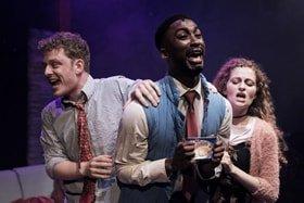 Chris Jenkins, Jordan Shaw & Gillian Saker (l-r) in tick, tick… BOOM! at Park Theatre.
