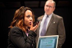Nina Toussaint-White (Rona Worthing) and Math Sams (Dr Tom Pennington)