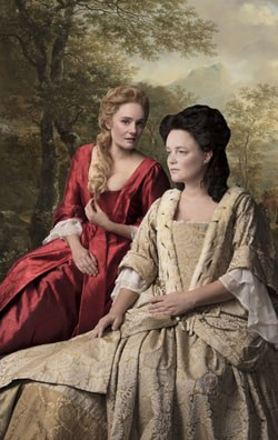 Romola Garai (Sarah, Duchess of Malborough) and Emma Cunniffe (Queen Anne) in Queen Anne. Credit Darren Bell