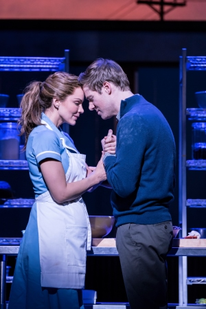 Waitress: Katharine McPhee as Jenna and David Hunteras Dr Pomatter. Photographer Johan Persson.