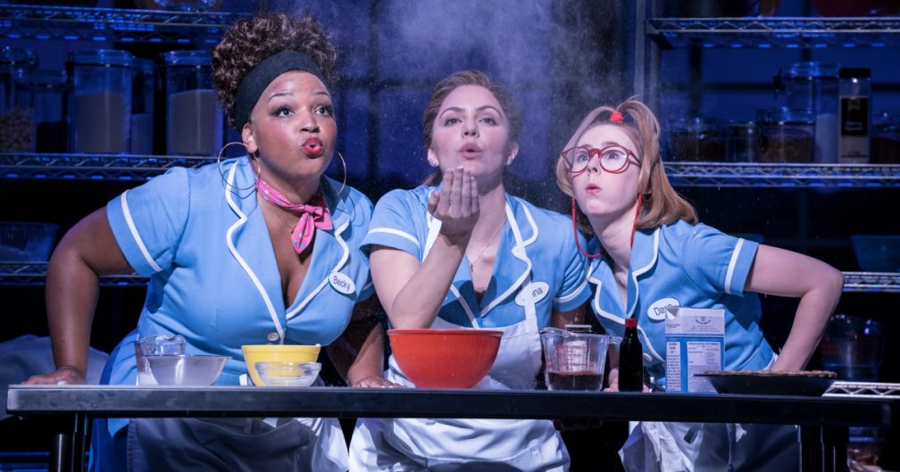 Waitress at the Adelphi Theatre: Marisha Wallaceas Becky, Katharine McPhee as Jenna and Laura Baldwin as Dawn. Photographer Johan Persson.