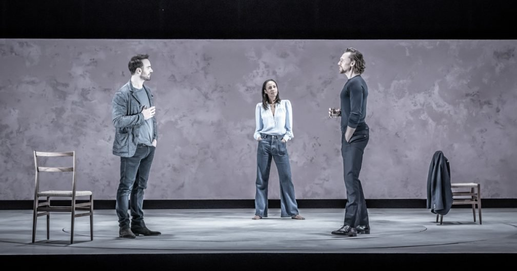 Charlie Cox (Jerry), Zawe Ashton (Emma) and Tom Hiddleston (Robert) in 'Betrayal' directed by Jamie Lloyd. Photo credit Marc Brenner.