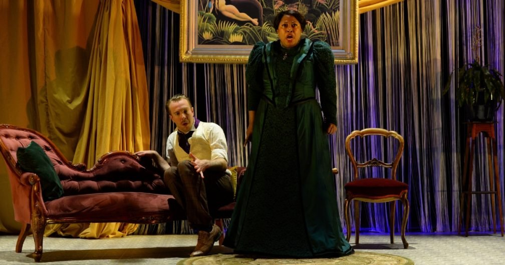 Oliver Brignall as Lord Reginald Fitzambey; Alison Buchanan as Strega Thundridge in George Bernard Shaw's The Music Cure part of 'Shaw Goes Wilde'