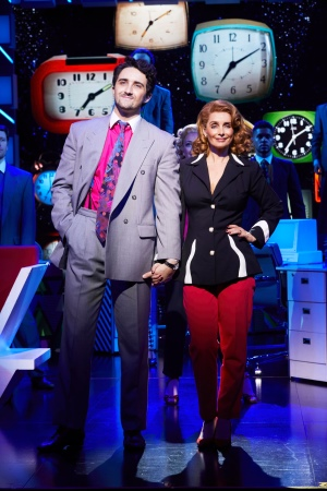 9 TO 5 THE MUSICAL. Louise Redknapp 'Violet Newstead' and Christopher Jordan Marshall 'Joe'. Photo Simon Turtle.