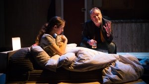 Niamh James & Mark Hadfield in The Weatherman at Park Theatre. Photo by Piers Foley