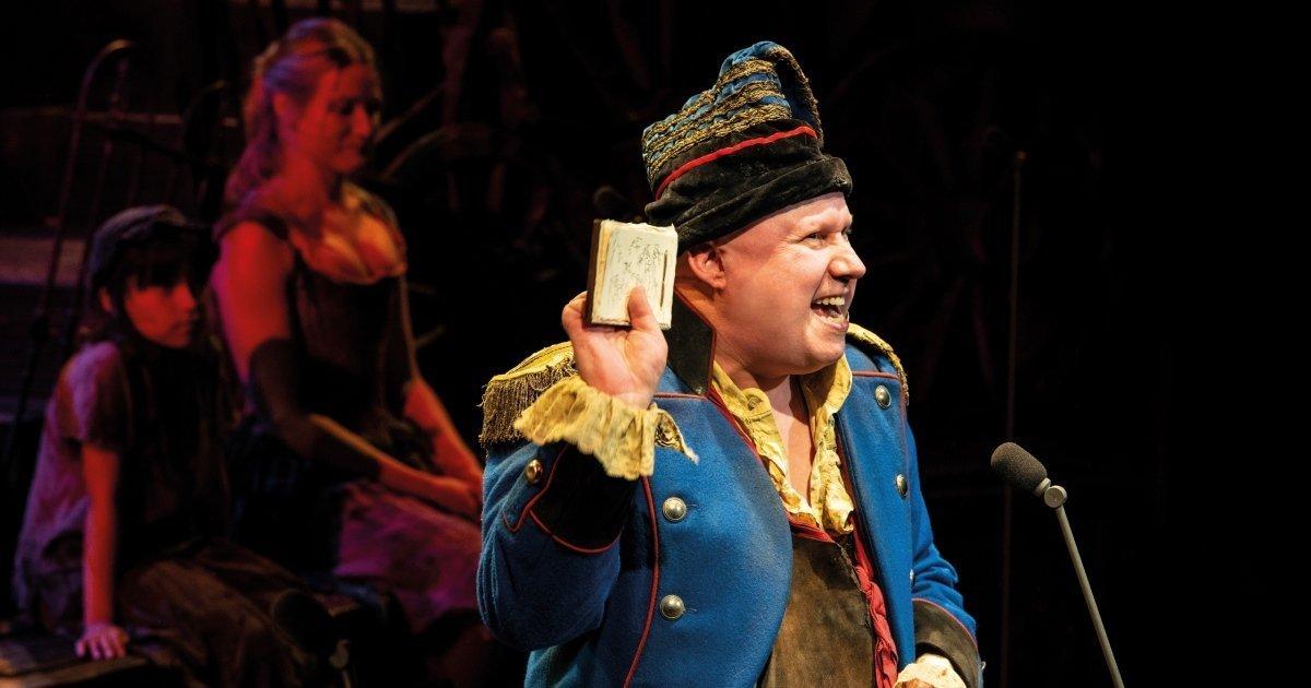 Matt Lucas as Thénardier - Photograph Michael Le Poer Trench.