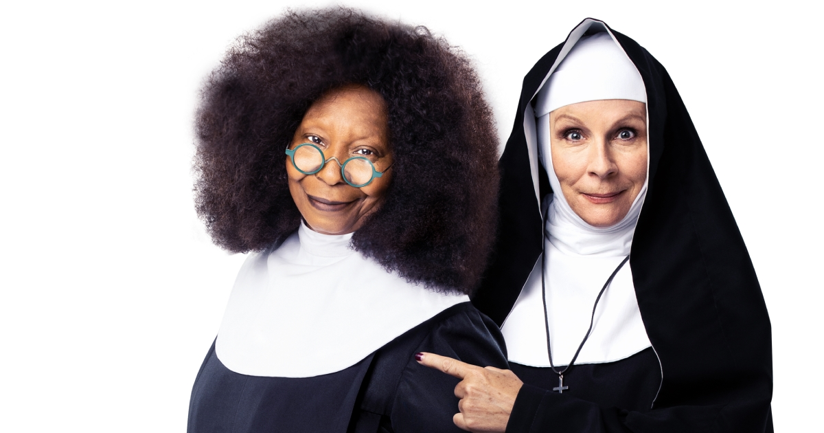 SISTER ACT. Whoopi Goldberg 'Deloris Van Cartier' and Jennifer Saunders 'Mother Superior'. Photo Matthew Murphy and Oliver Rosser.