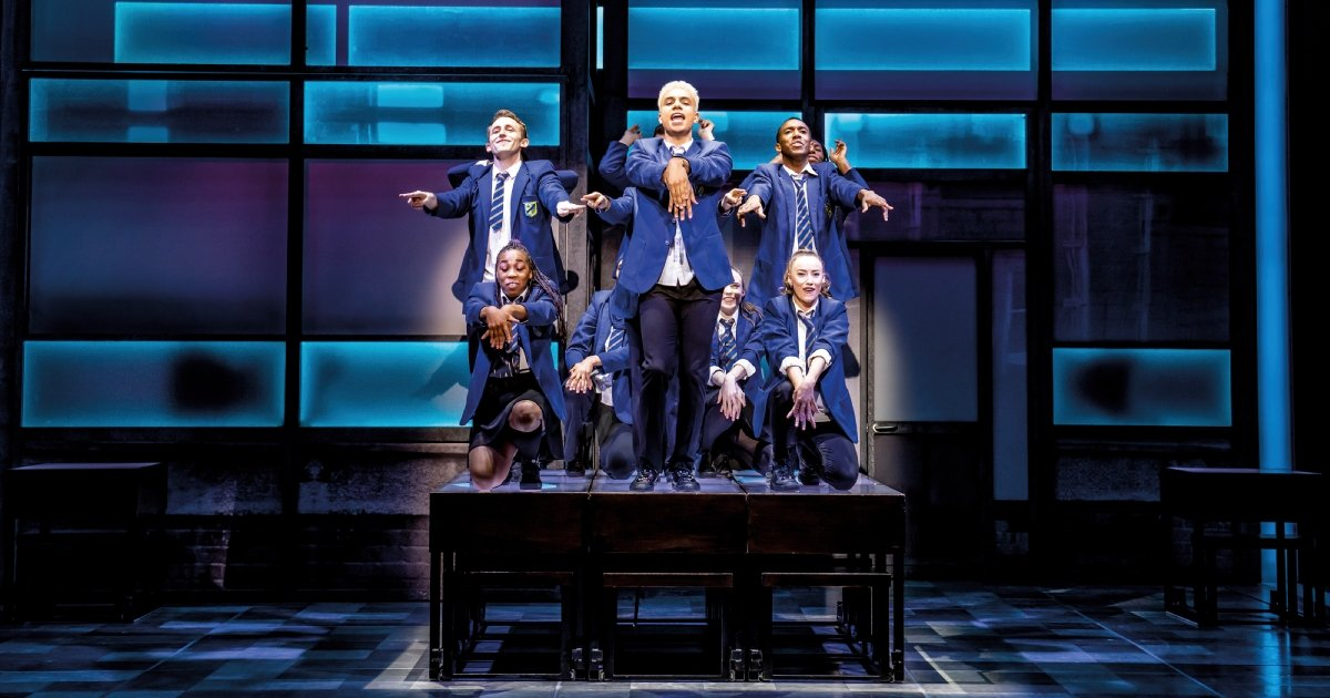 The company of Everybody's Talking About Jamie at the Apollo Theatre. Photo credit Matt Crockett
