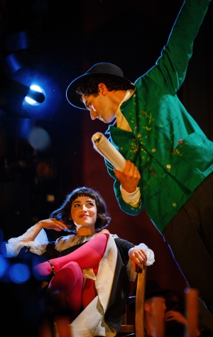 Kneehigh The Flying Lovers of Vitebsk  Credit Steve Tanner. Marc Antolin as Marc Chagall and Audrey Brisson as Bella Chagall.