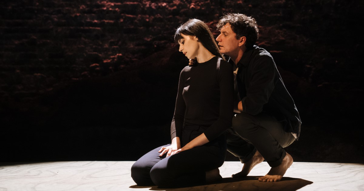 Abigail Weinstock (Her/Baba), Tom Mothersdale (Him_Man) in Love and Other Acts of Violence, Donmar. Credit Helen Murray